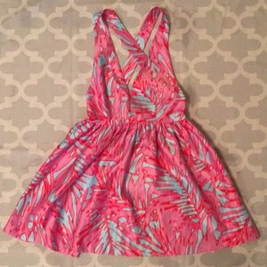 Romeo & Juliet Couture Pink blue Palm Print Dress